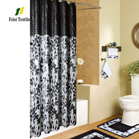 Black white plant leaf leaves horizontal stripe top shower curtain for round rod