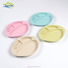 Biodegradable wheat straw safe baby wheat fiber plate dish with 3 compartments