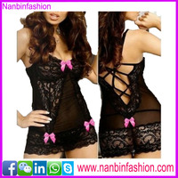 cheap wholesale hot sale black cross back lingerie see through babydoll lingerie