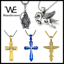 Solid Silver Diamond Jewelry Stainless Steel Men Cross Pendant Fashion Necklace