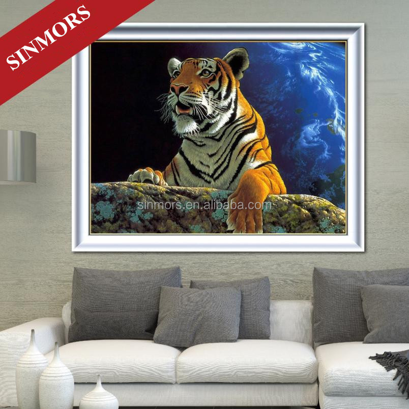 DIY Tiger Pattern Cross Stitch Crystal Acrylic Diamond Oil Canvas 3D Decorative Mural Painting
