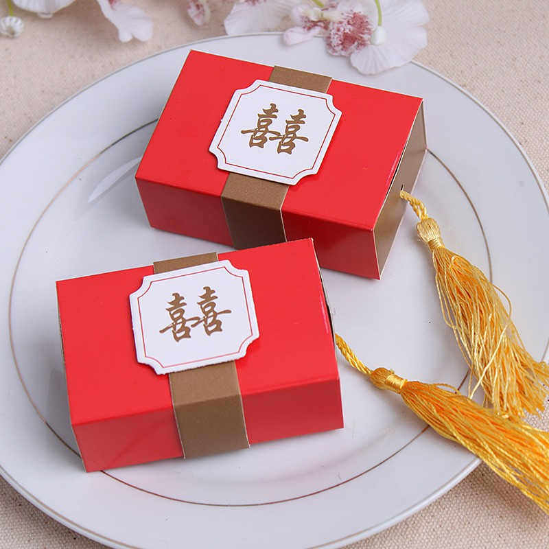 100PCS Double Happiness Candy Boxes Gift Boxes Wedding Party Favors Box Free Shipping