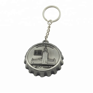 Zinc alloy beer cap shape bottle opener keychain with 3D custom logo or printing insert