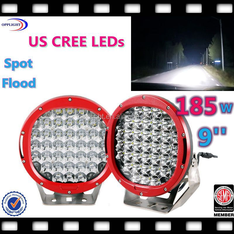 creess 9inch 96w led driving lights spot offroad truck replace bar HID Red,Aurora 9' 185W round driving light