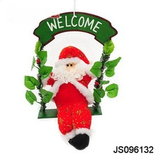 2016 New Christmas decoration, Welcome board hanging with Santa claus paying on the swing design