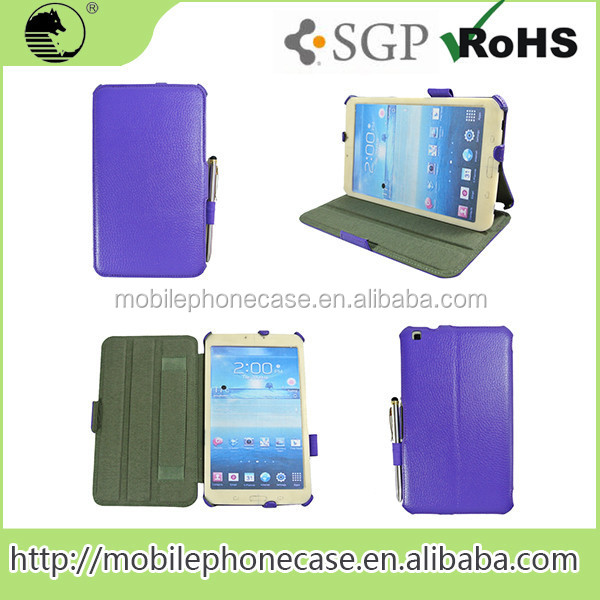 China Wholesale Leather Tablet PC Case Cover with Stylus and Hand Strap For Samsung Tab 3 8inch