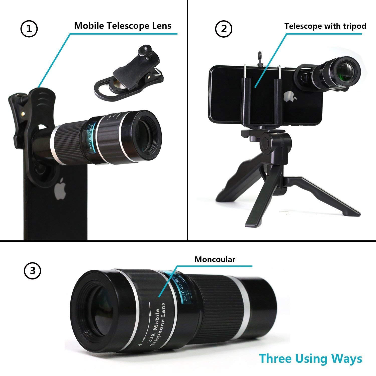Best selling in mobile accessoires phones mobile android smartphone 18X zoom telescope lens for iphone