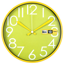 "12"" unique auto flip calendar plastic wall clock design"