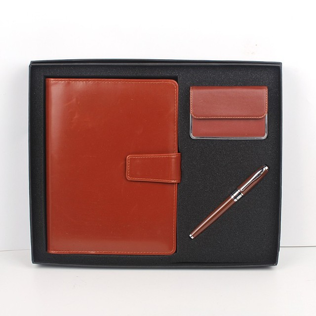 Notebook and pen corporate gift set with name card holder and Calculator