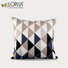 2017 High Quality Custom Size Latest design chain stitch embroidery decorative pillow cotton canvas cushion cover