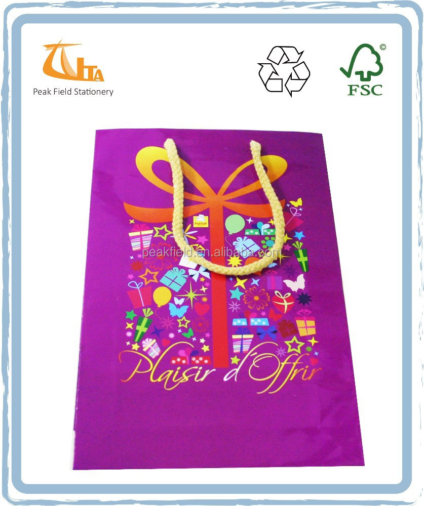 Purple Color Shopping Bag Small Gift Paper Bags With Handles