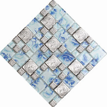 Very popular high quality stainless steel mosaic blue rose glass mosaic tile