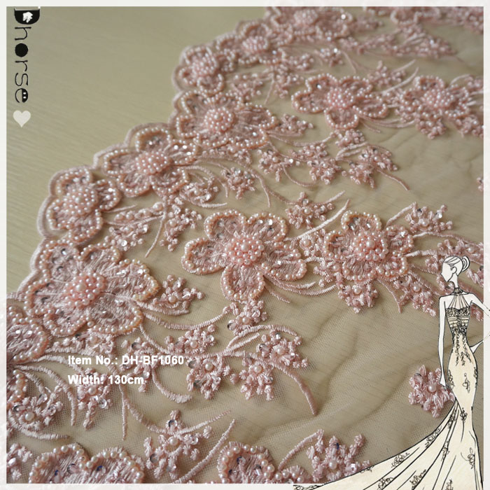 Elegant baby pink pearls beaded african french polyester embroidery lace fabric DHBF1060