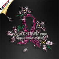 Floral pink ribbon iron on breast cancer rhinestone transfer