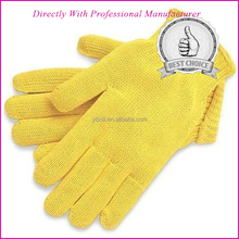 Manufacture high quantity aramid cut and heat resistant yellow glove aramid knitted work glove