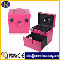 Pink Leather Cosmetic Case for Nail Arts
