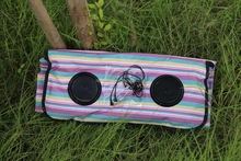 Striped printed folding music picnic blanket with speaker