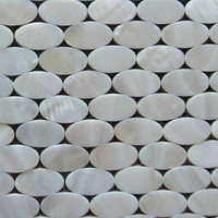 MS004-WOT oval shape white color Chinese freshwater shell handmade mosaic with ceramic backing