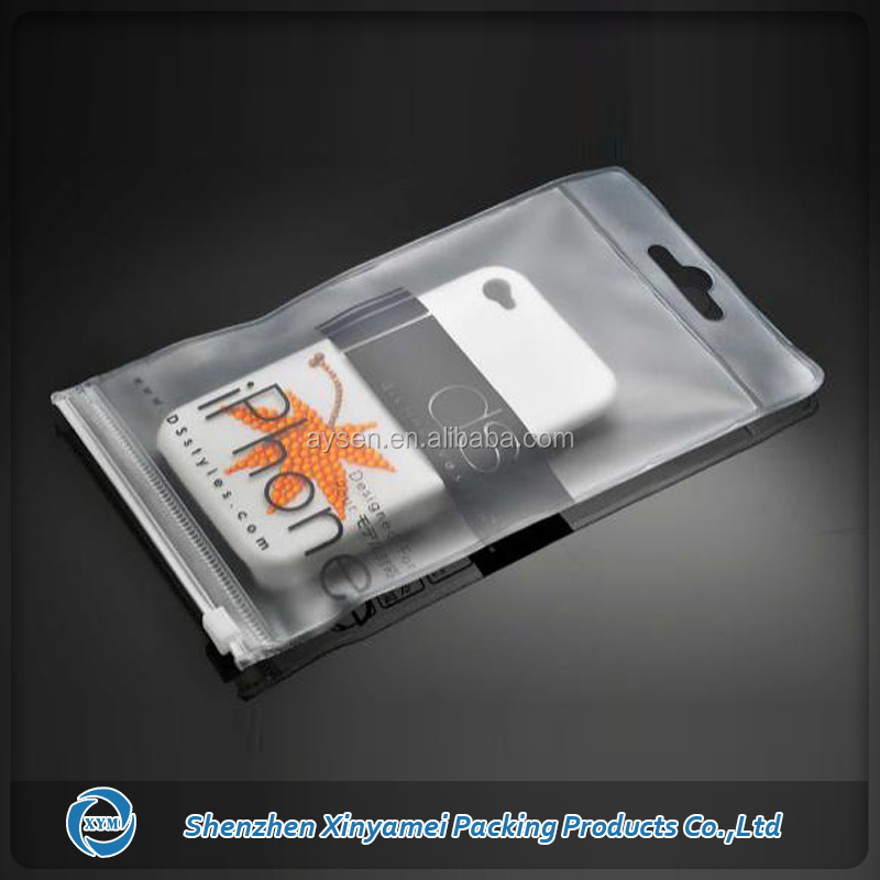 mobile phone case packaging pvc bag with hang hole zipper