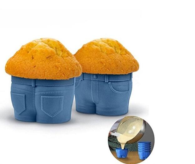 Set of 4 Silicone muffin top Jeans pants shaped Bakeware Mold Cup Cake Mold cakemould
