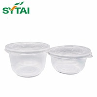 Various Sizes Transparent Disposable Plastic Salad Bowl with Lid