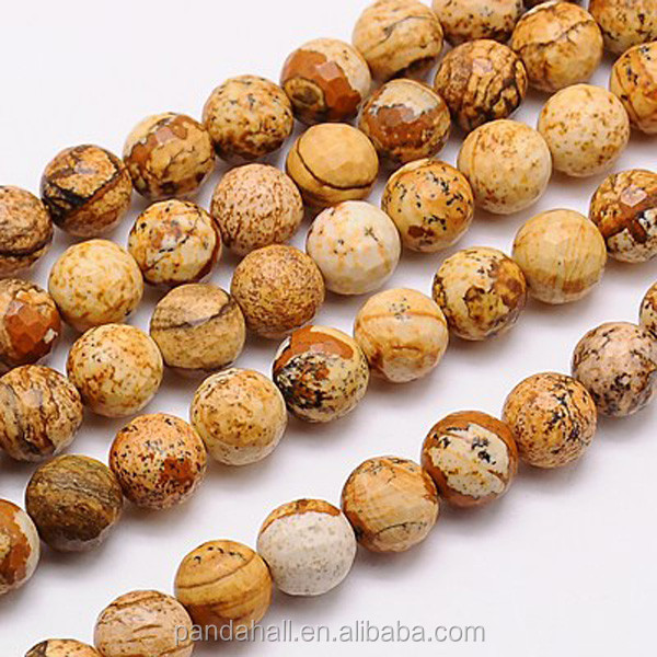 10MM Faceted Round Natural Picture Jasper Stone Loose Beads Strands