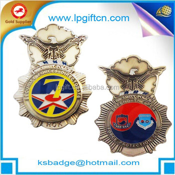 Imitation gold plated custom metal pilot wings pin badge,golden 3D star wings challenge lapel pin with safety pin
