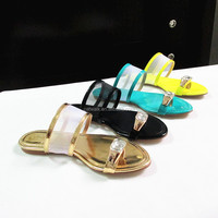 Live Picture Women Shoes, Crystal Toe Ring Leather Sandals, Ladies Casual Outdoor Slippers Shoes
