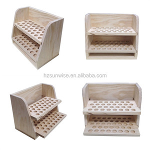 OEM design welcomed unfinished wood detachable 2 layer pine wood essential oil display rack