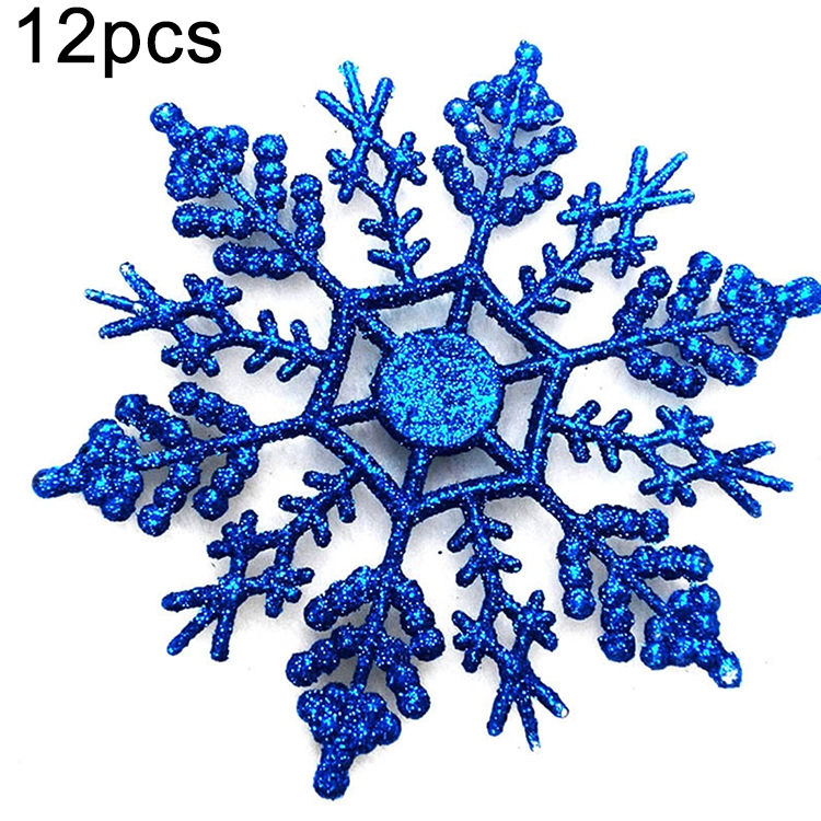 Same day shipping 12 PCS Christmas Tree Ornaments Acrylic Snowflake Pieces Decorative Pendant Loose Powder, Diameter: 10cm