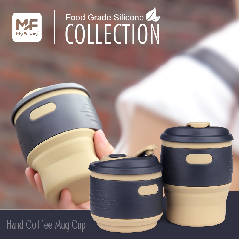 Promotion food grade silicone travel coffee cup with anti spill