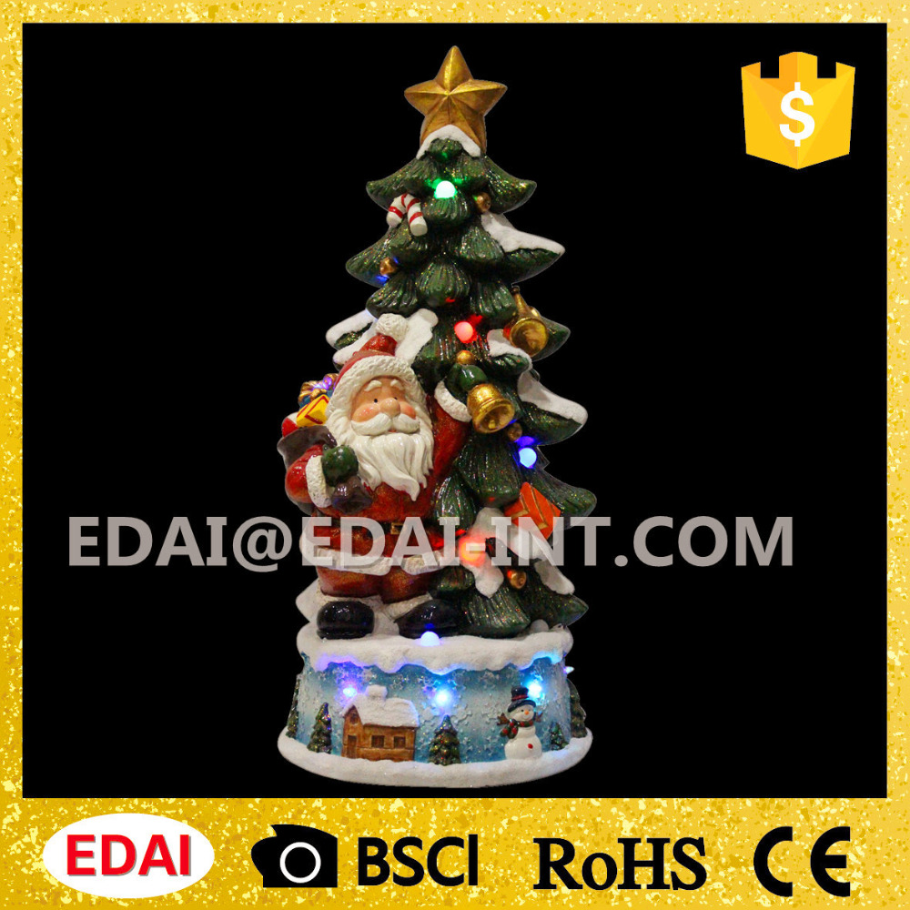 High quality lighted ceramic christmas tree with santa holding bell and music