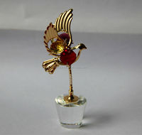 Gold plated crystal bird figurine MH-H0079