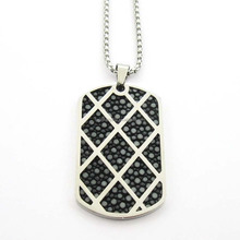 Luxury fine jewelry men custom stainless steel dog tag name necklace white large stingray skin genuine leather pendant