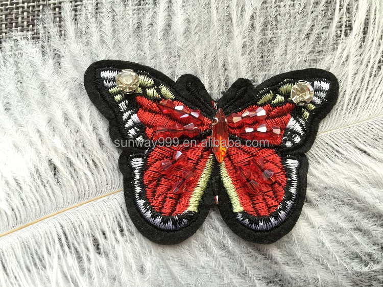Cheap embroidered Butterfly patches rhinestone beaded stone applique
