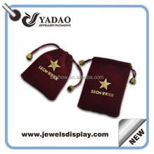 Red custom velvet pouch for jewelry packaging with company logo