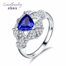 Custom Design 18k Ring Gold Setting Fine Jewellery Trillion Cut 0.86 Ct Tanzanite Ring Images