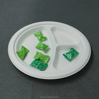Disposable 3 compartments bio dinner plate