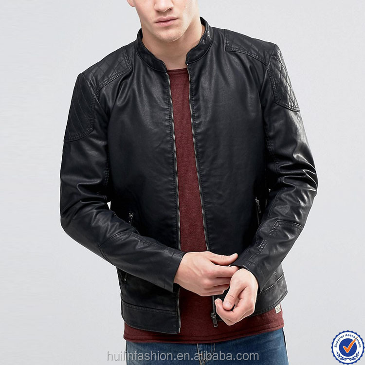 chinese clothing manufacturers round collar zip opening leather jackets for men