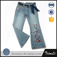Embroidery denim new pants design for girl