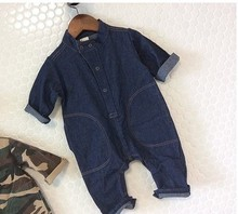 wholesale new 2016 Fashion girls and boys long-sleeved denim Romper