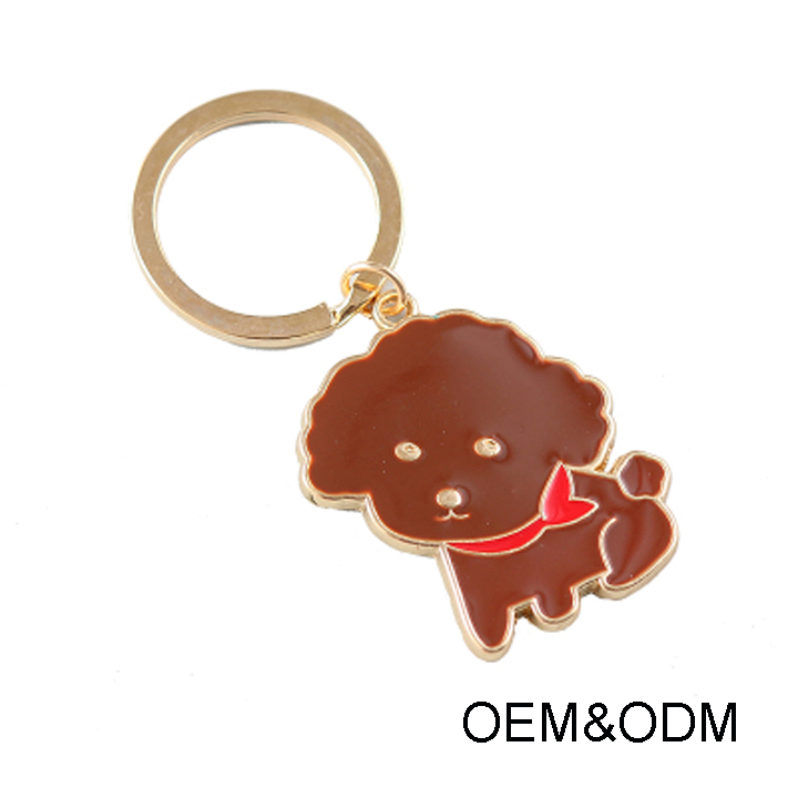 New Promotional Gift custom Teddy dog shaped metal keyring keychain