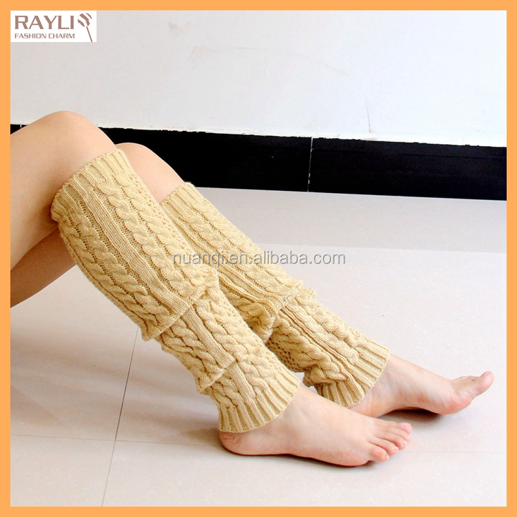 2016 Fancy Cosy Cheap Cable Knit Boot Cuffs Hollow Knit Women Solid Color Winter Thermal Knee High Leg Socks