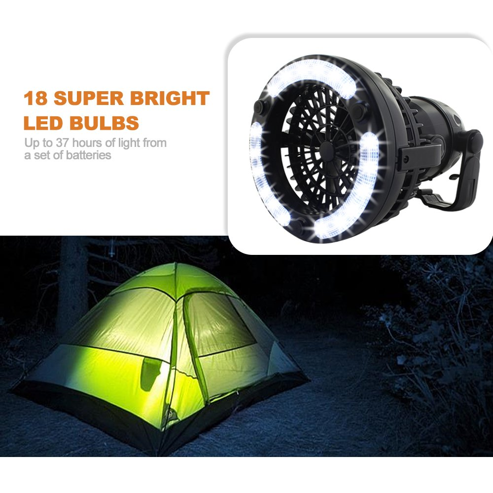 2IN1 Portable LED Camping Lantern with Ceiling Fan 18 LED Flashlight Ceiling Fan for Outdoor Hiking Fishing Emergencies Tent