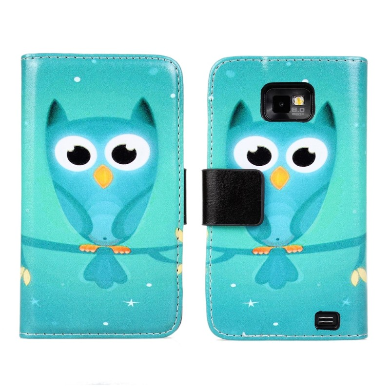 Owl Print Wallet Leather Book Cover Case for Samsung Galaxy s2