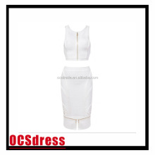 2016 OEM supply fashion women low cut bodycon dress white sleeveless ladies party dresses