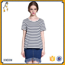 Girls Tops Summer Ladies T shirt Sexy Crop Tops Striped Short Sleeved T-shirt Slim Short Female Clothes Slim Top