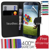 New Stylish leather Case Cover with stand cheap high quality Leather Case for Samsung Galaxy S4 i9500,--Laudtec