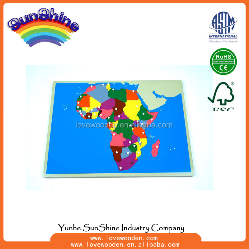 Montessori materials Wood Educational Toys NEW Africa Puzzle Map ,geography