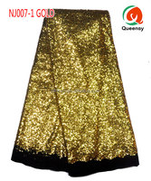 NJ007-1 Unique Gold Shiny African French Lace Fancy Fabric Party Dress 2015 Hot